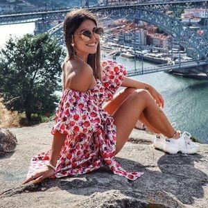 Zara blogger fav floral Shoulder Mini Dress belt
